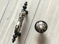 3 Ceramic Knob Dresser Knobs Pull Drawer Pulls Handles White Gray Antique Black Kitchen Cabinet Pulls
