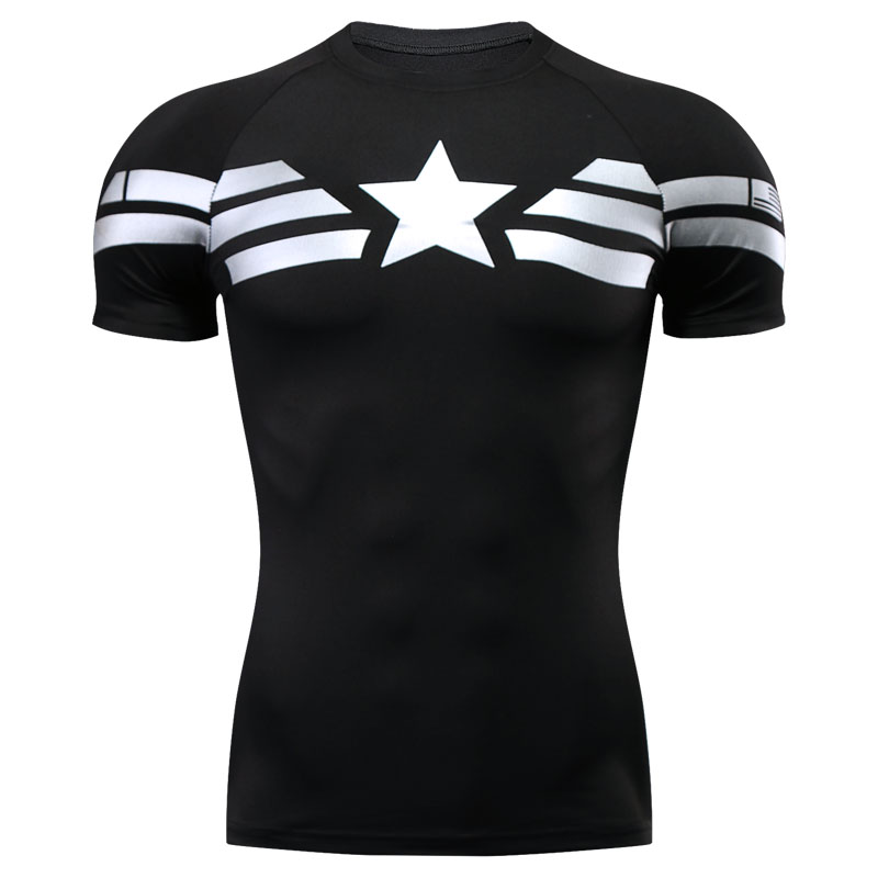Mens Compression Shirts Bodybuilding Skin Tight Captain American Short Sleeves Shirts Clothing Crossfit Exercise Workout Fitness