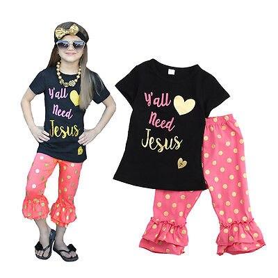 Yall need Jesus print long sleeves top girls full stock hot pink dot ruffle pants baby kids wear set