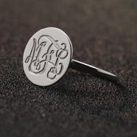 Men Ring Solid Silver Monogram Ring Personalized 3 Initals Name Rings Men Engagement Disc Rings