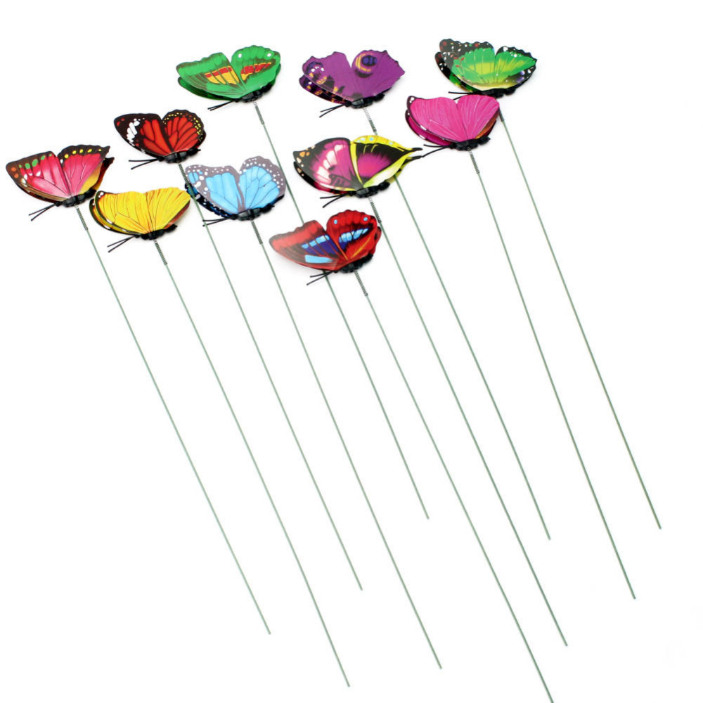 Butterfly lawn ornaments - 10pcs Stylish Double Layer Butterfly On Sticks Home Garden Vase Lawn Flower Pot Plant Crafts Art