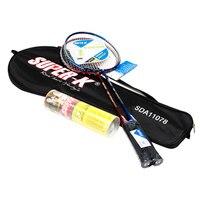 1 Pair Badminton Rackets Titanium Metal String Badminton Sports Racquet Double Racket With Shuttlecock