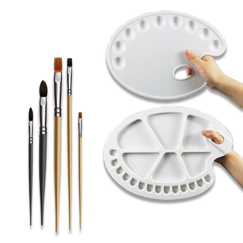 55 Huile Aquarelle Gouache Acrylique Peinture Palette Ellipse Blanc 3040 Cm Peinture Outil Art Fournitures Dessin Palette Trq126 In Dessin De