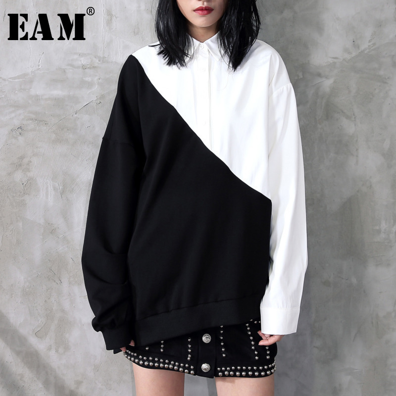 [EAM] 2020 Hot Sell New Spring Lapel Black White Hit Color Irregular Loose Big Size Long Shirt Women Blouse Tide Fashion JC319