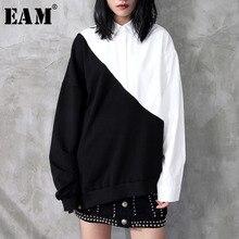 [EAM] 2021 Hot Sell New Spring Lapel Black White Hit Color Irregular Loose Big Size Long Shirt Women Blouse Tide Fashion JC319