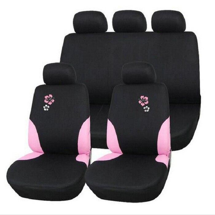 9 шт./компл. сиденья полные комплекты Универсальный Fit 5 сиденье внедорожник seat упругие моющиеся дышащий розовый Цветочная вышивка WH