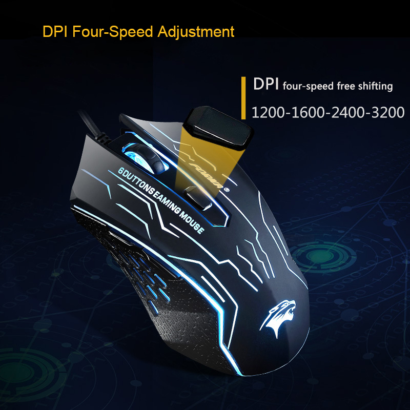 USB Wired Gaming Mouse 3200DPI 6Buttons Sound/Silent Optical Computer Mouse Gamer for PC Laptop for CS GO LOL Dota 2 Games Mice image
