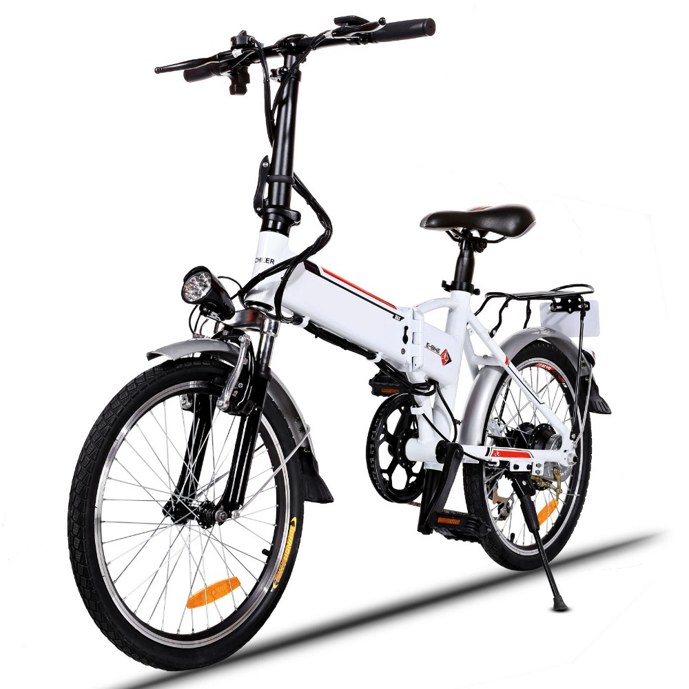 Ancheer 20inch Foldable Electric Power Mountain Bicycle with Lithium-Ion Battery Electric Mountain Bike electric bicycle case 36v lithium ion battery box 36v e bike battery case used for 36v 8a 10a 12a li ion battery pack