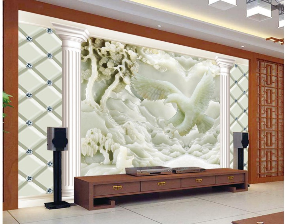 3d customized wallpaper jade carving reliefs eagle photo for Eagle wall mural