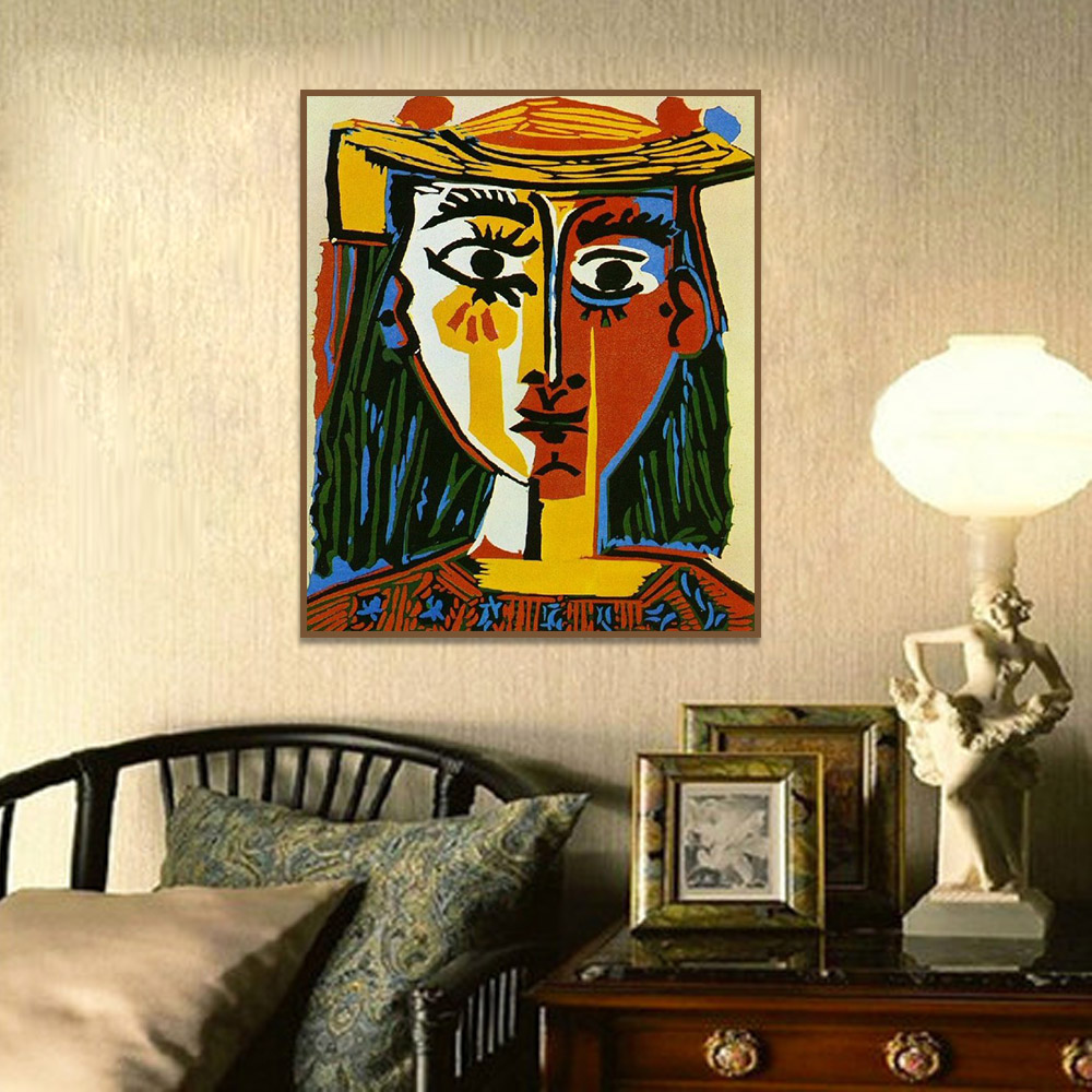 Art Fabric HD Print Oil Painting Pablo Picasso Painter and Model Wall Decor
