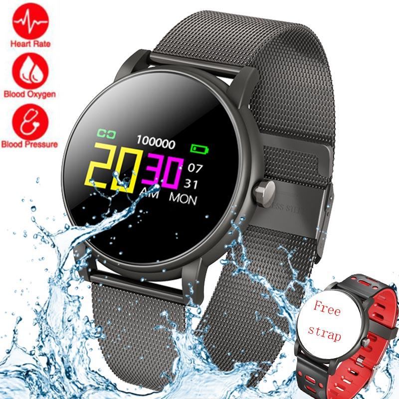 Montre intelligente hommes femmes verre trempé activité Fitness horloge Tracker moniteur de fréquence cardiaque sport course IP67 étanche Smartwatch