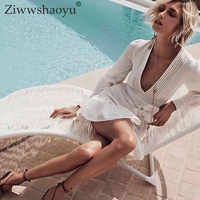 Ziwwshaoyu Sexy deep V Neck Party dress Hollow Out Patchwork Vacation Beach Mini dress 2019 spring and summer new women