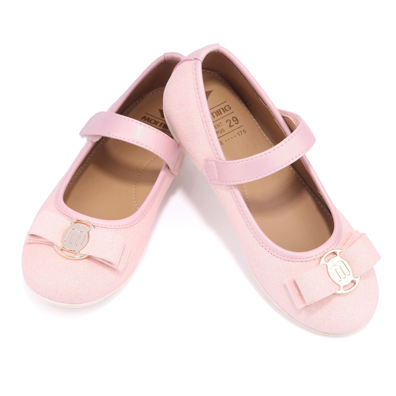 Spring autumn girl pink glitter lovely princess shoes soft kids shoe insoles catwalk butterfly-knot flat shoes girl shoes spring and autumn flash cute princess children shoes soft insole flat bottom show shoes butterfly knot convenience