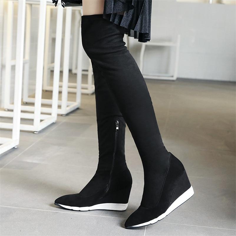 Bottes Chaud Chaussures Talons Hiver Femmes Neige Longue Stretchshoes Sur Hauts Danse Automne Mode Le Genou Cales Femme À Conasco Noir Haut Y6AzW