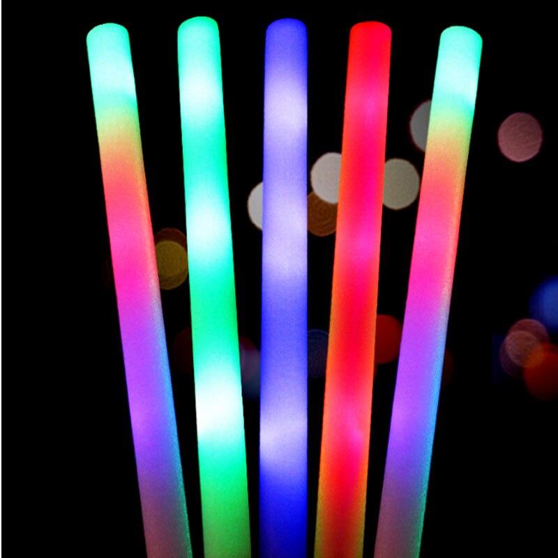2018 corrió 100 unids/lote fábrica colorido Led espuma logotipo personalizado disponible parpadeante resplandor para fiesta de boda concierto Accesorios-in Suministros luminosos para fiestas from Hogar y Mascotas    3