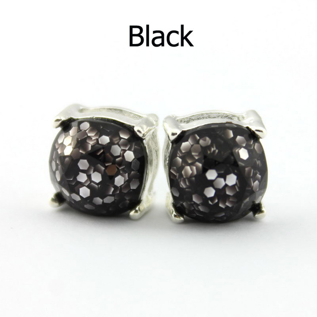 14 Colors Silver Plated Kate Glitter Studs Earrings Square Spade Ear Button 1