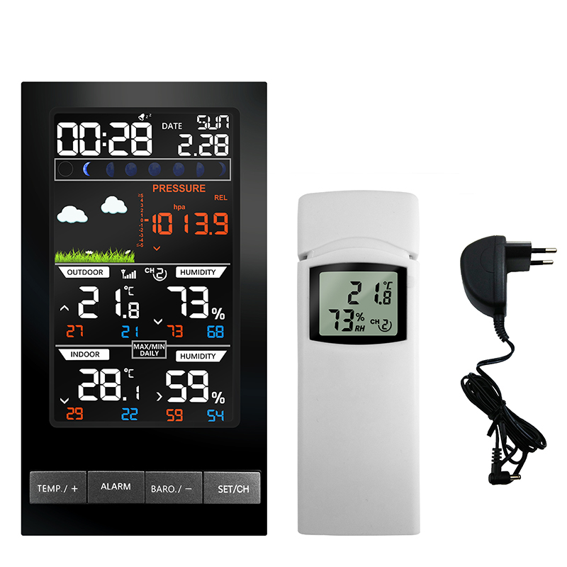 Wireless Weather Station Barometer Indoor Outdoor Thermometer Hygrometer mm Hg Weather Forecast Radio Control Time Alarm