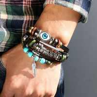 Fashion Turkey Blue Eyes Leather Bracelets Hemp Braided Alloy Hand For Men and Women Bracelets Lucky Jewelry Gift Wholesale