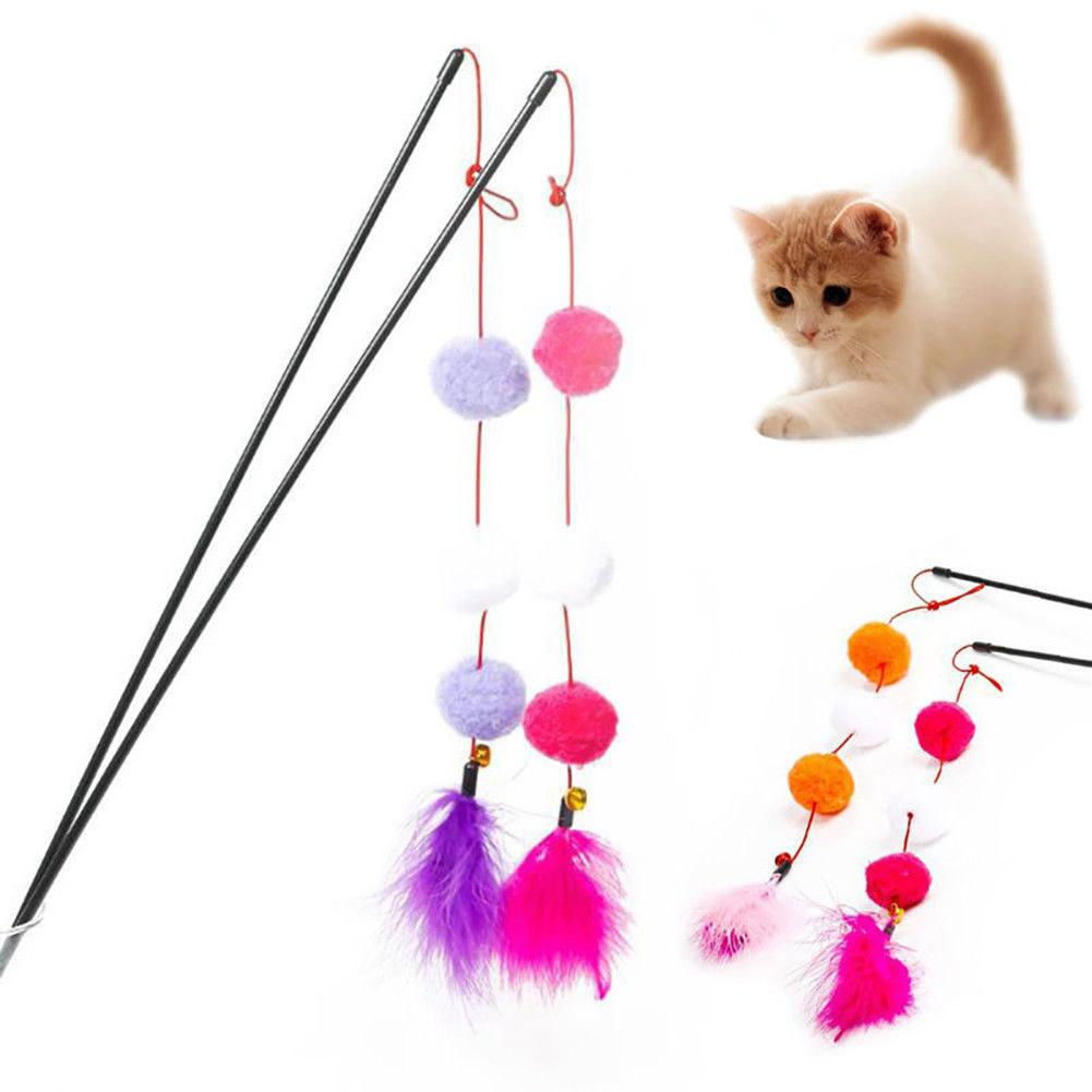 TPFOCUS Interactive <font><b>Feather</b></font> Fluffy Ball <font><b>Stick</b></font> Teaser with Bell for <font><b>Cat</b></font> Pet Training <font><b>Toy</b></font> image