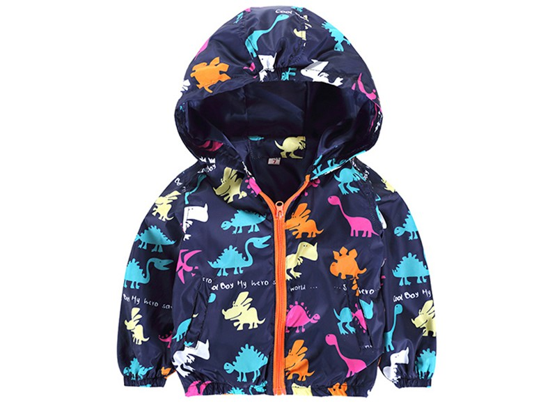 80-120cm Cute Dinosaur Acitve Children Boy Jackets Spring Clothes For Kids Girls Trench Coats Windproof Camouflage Outerwear (4)