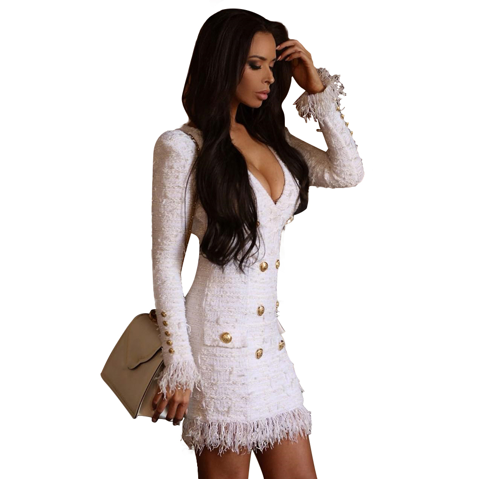 Adyce 2019 New Spring Women Slim   Trench   Coat Sexy White Deep V Neck Long Sleeve Tassels Fringe Celebrity Party Club Coats   Trench