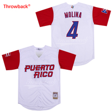 Throwback Jersey Men's Puerto Rico Movie Baseball Jerseys Molina Jersey White Red Shirt Stiched Size S-3XL Free Shipping Cheap цена