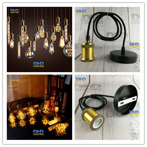 Free ship Aluminum DIY Pendant Light fixture E27 Lamp holder with 110V 220V Edison LED bulb Vintage Retro decor hanging Lamp opening 20 mm tripod with lamp red circle ship type switch kcd1 105 3 feet 2 file with lamp