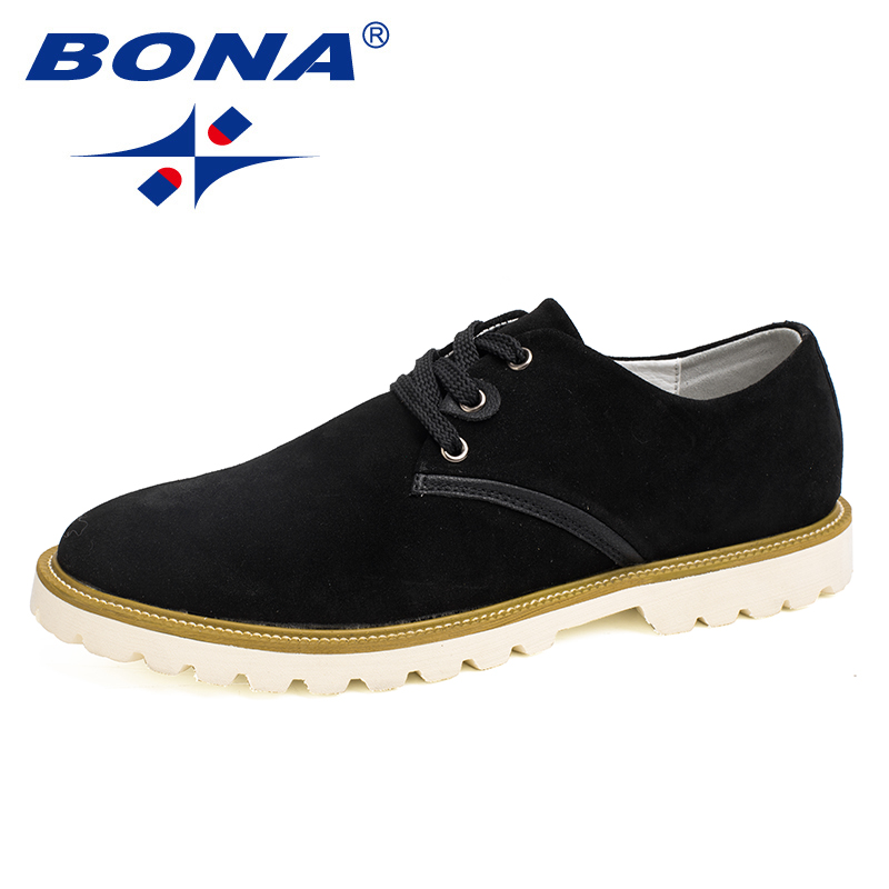 BONA New Arrival Popular Style Men Casual Shoes Lace Up Suede Leather Men Shoes Comfortable Light Soft Men Flats Free Shipping new arrival high genuine leather comfortable casual shoes men cow suede loafers shoes soft breathable men flats driving shoes