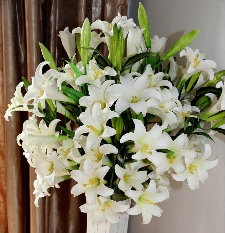 2015는 가정과 정원 결혼식 훈장을위한 무료 배송 100cm 전시 꽃 PVC 인공 백합 꽃을 밝힙니다