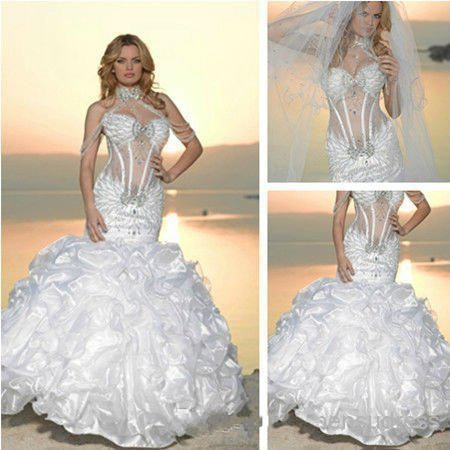 2017 Hot New Expensive Luxury Wedding Dresses Y Mermaid Ruffless Bottom Bling Arabic Designers Gorgeous