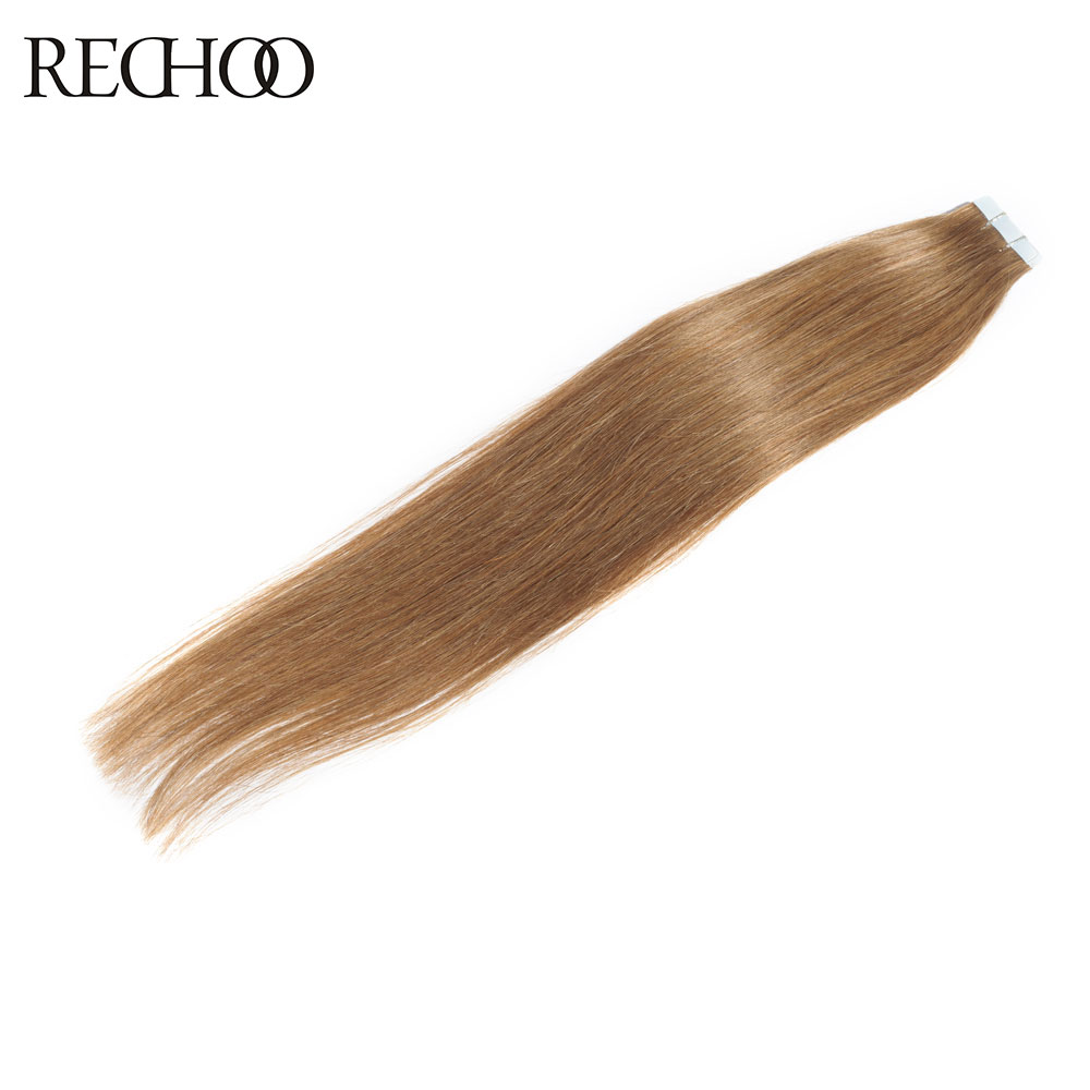 Rechoo Tape In Hair Extension 100% Human Hair #8 Color 50G/Pcs 100G/Pcs 16 24 Inch Striaght Non-Remy Brazilian Hair Light Brown