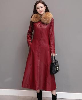 2019 autumn Winter women's Faux leather Trench Coat Slim large size single-breasted Fur Collar Plus cotton PU windbreaker w761