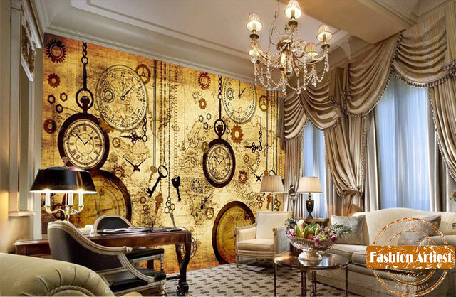 Online shop custom vintage travel world map wallpaper mural clock custom vintage travel world map wallpaper mural clock key compass pocket watch tv sofa bedroom living room cafe bar restaurant gumiabroncs Gallery