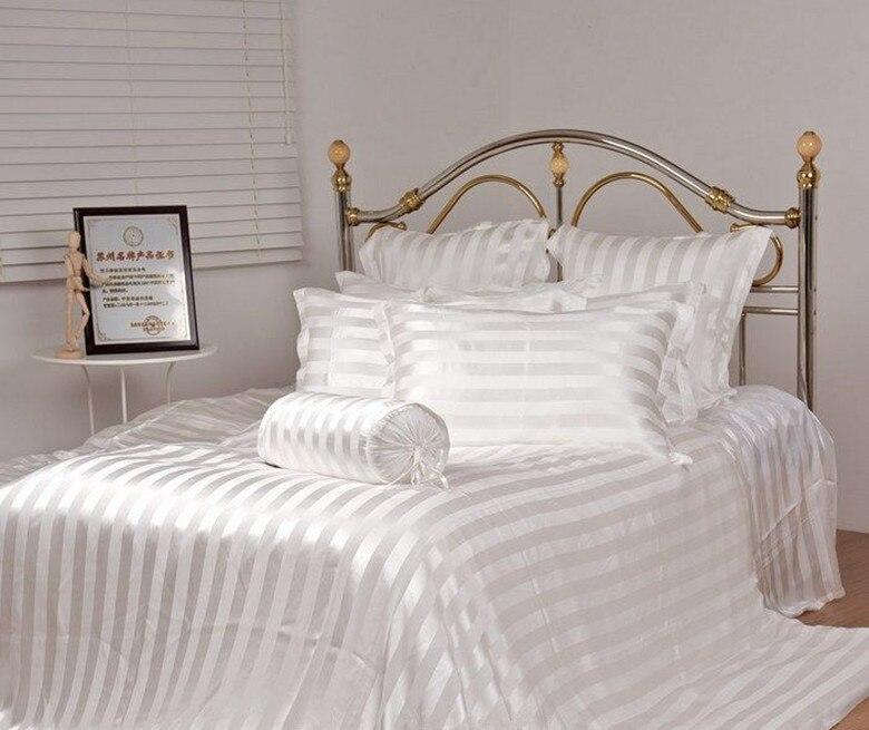 100% шелк тутового шелкопряда постельные принадлежности Queen размер жаккард в полоску цвета 4 шт. 16.5 мм в полоску белый настроить