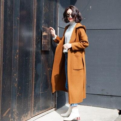 Survêtement long Caramel Femelle Hiver Mode Vestes Manteau 2018 Tinteen Femmes Gc112 Laine Face Manteaux Moyen Chaud Cachemire xa6v6fwq