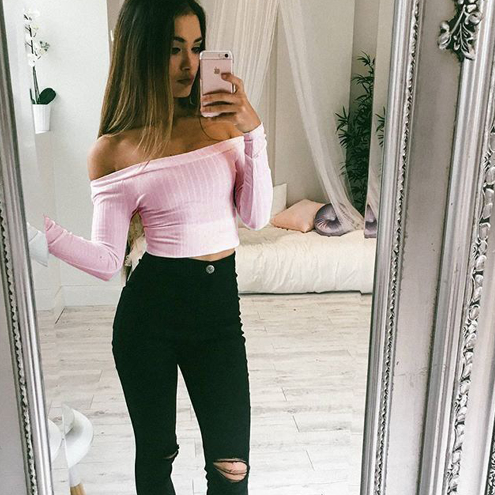 New Arrival Womens Sexy Summer Ladies Off Shoulder Slim t shirt Vest Long Sleeve Solid Sweaters Shirts Hot Sale Shirts Gift in T Shirts from Women 39 s Clothing