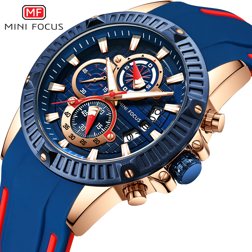 Mens Watches Top Brand Luxury Men Quartz Chronograph Watch MINIFOCUS Date Clock Man Blue Silicone Strap Casual Sport Wrist Watch active round neck mesh spliced hollow out bra for women
