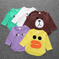 2016 New autumn fashionable children clothes kids pure color cartoon printing full sleeve cotton T-shirt