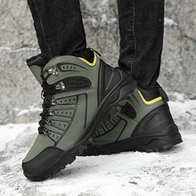 Winter Man Fur Hiking Shoes Big Size 39-46 Mens Hunting Boots Black Army Green Rock Climbing High Top Outdoor