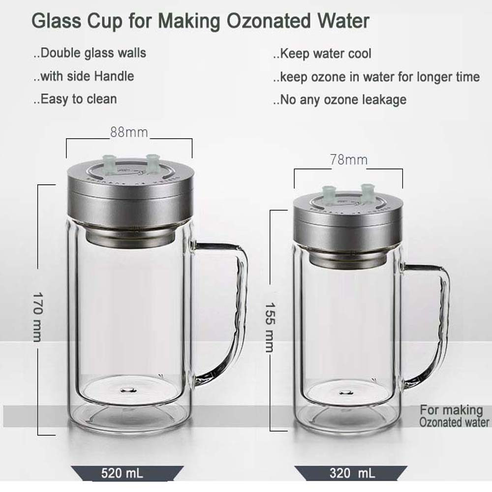 AQUAPURE Double walls Ozone Glass Cup for making ozone water or ozone humidication