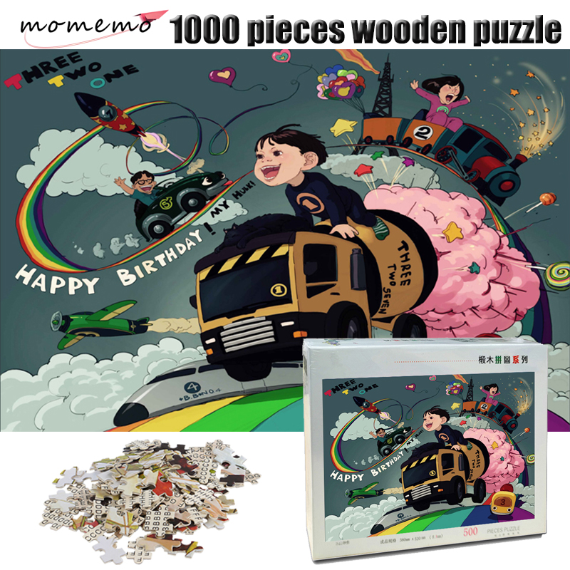MOMEMO The Children Paradise Wooden Adult Jigsaw Puzzle 1000 Pieces Cartoon Puzzle 500/1000 Pieces Puzzles Kids Educational Toys