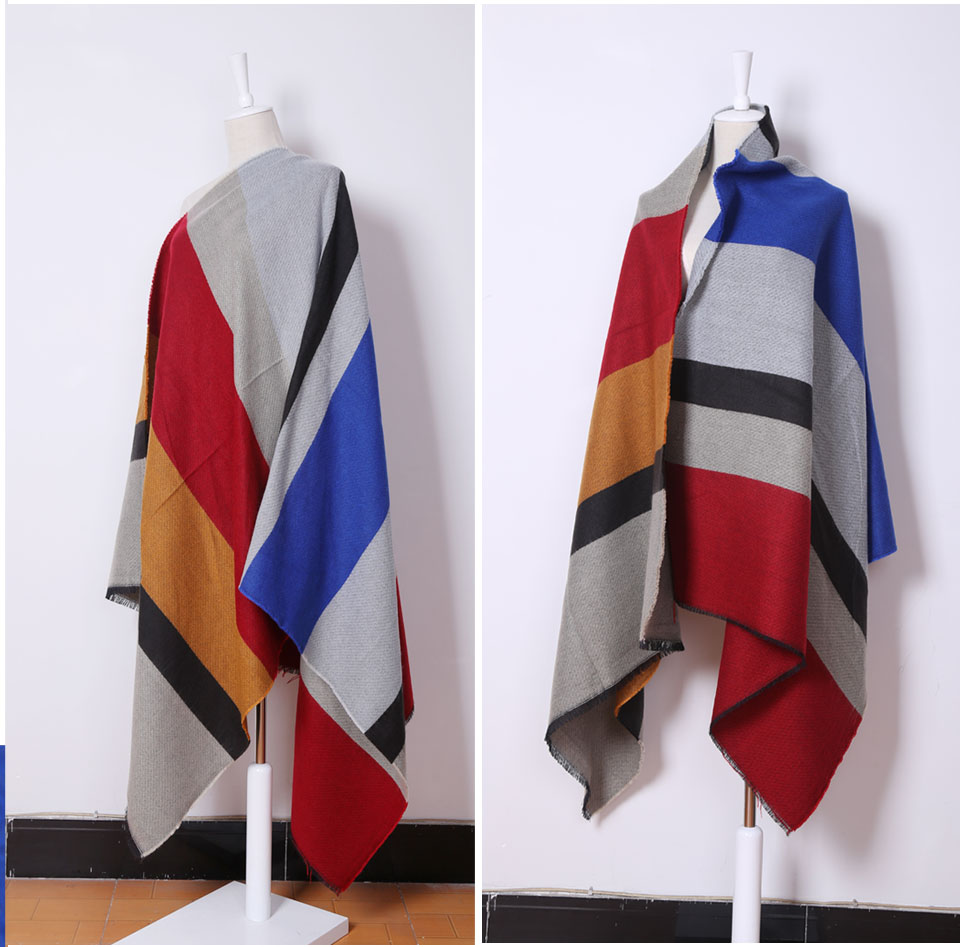 New 2017 Winter new Design Scarf Spain Fhicker Stripes oversized Cashmere Scarf Woman Scarf Shawl free shipping