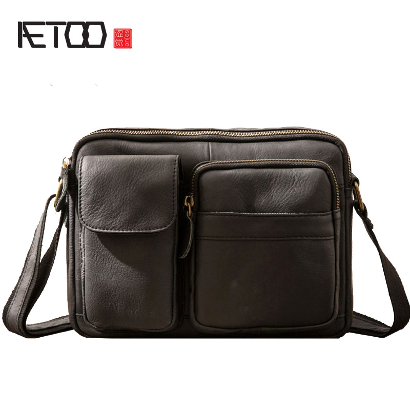 AETOO Small men s bag casual Korean version of the retro leather men s bag shoulder