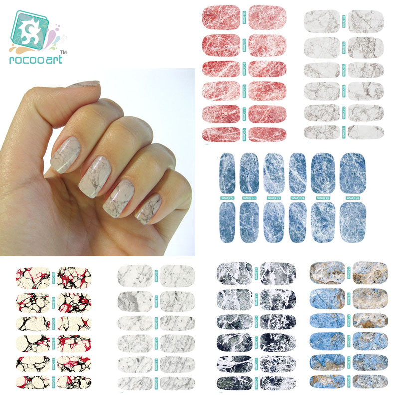K5 Multi Color 2017 New Water Transfer Nail Art Sticker Foil White Gray Marble Stone Rock Nail Wraps Sticker Manicure Decals