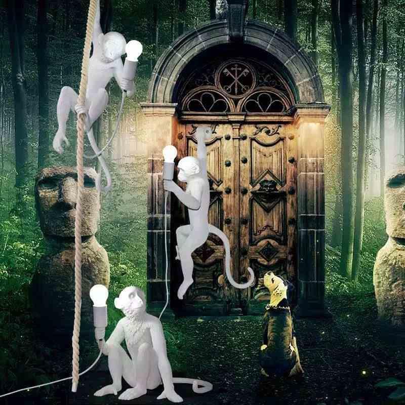 Современные пеньковая веревка смолы обезьяна светильники, Подвесная лампа SELETTI коридор исследование лампа в форме обезьяны подвесные лампыгостиная огни висит