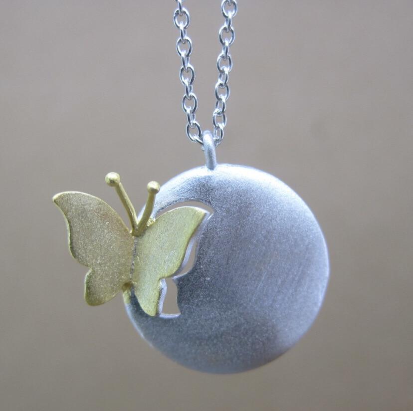 Ren silver tvåton 925 Sterling silver fjäril hänge halsband smycken fjäril halsband & hängsmycken (BLY)