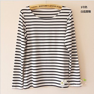 dcc15ae3f0a6 Summer and autumn fashion women tops long sleeve cotton shirt plain black t  shirt women big size black and white striped shirt