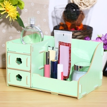 Wooden DIY Cosmetic Desktop Storage Box Make Up Tabletop Makeup Organizer  For Lipstick Perfume Nail