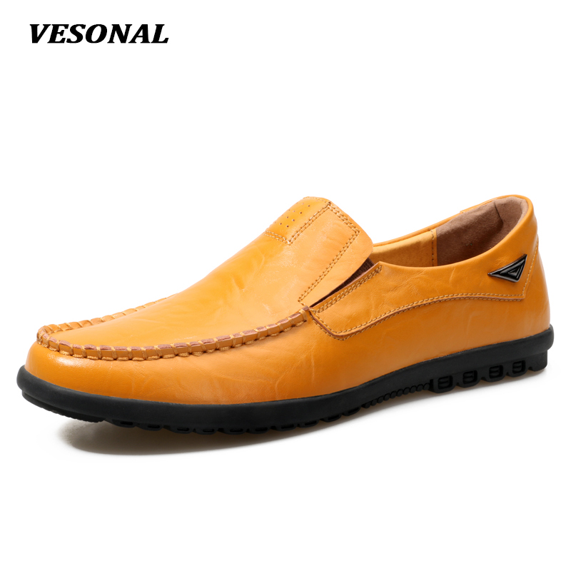 VESONAL New 2017 Brand Italian Luxury Genuine Leather Flats Mens Loafers Men Shoes Casual Fashion Slip On Driving Designer V8019 flat bottomed luxury mens loafers mark thread heel cover pedal leather strappy solid italian cowhide slip resistant soft leather