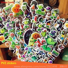 6Pcs/ Lot Plants Vs Zombies Stickers,3d Game PVZ wall stickers for boys rooms decor stickers Kids birthday party toys stickers